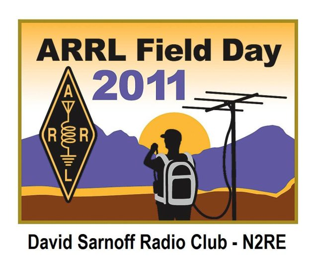 """image with lettering """"ARRL Field Day 2011"""" with ARRL log and mountains and antenna"""